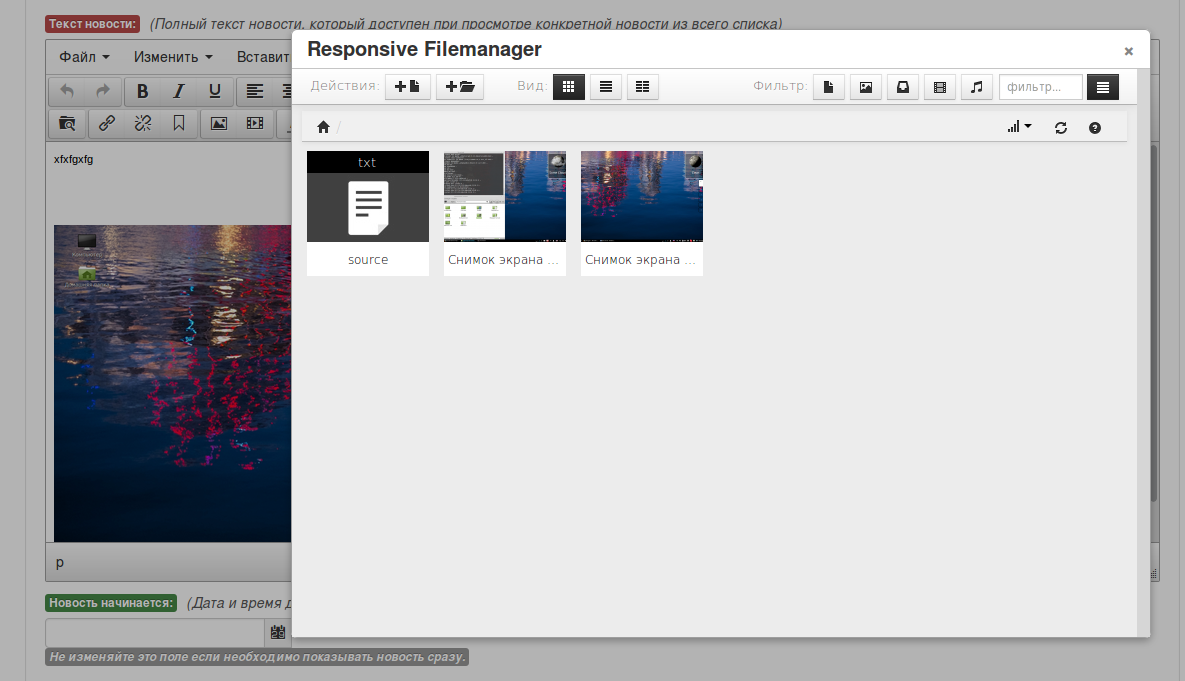 TinyMCE + ResponsiveFileManager
